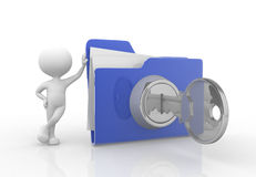 Folder. 3d people - man , person with big folder. Concept of security Royalty Free Stock Photography