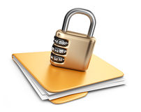 Folder 3D. Secure data concept.  Stock Photo
