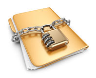 Folder 3D. Secure data concept.  Royalty Free Stock Photo