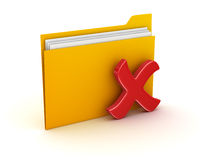 Folder and Delete Sign. This is a computer generated and 3d rendered picture Stock Image