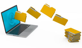 Folder depart from the laptop in a pile Stock Images