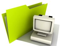 Folder Desktop. 3D Illustration of a computer Folder Royalty Free Stock Photography