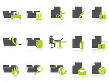 Folder and document icons green series Royalty Free Stock Images