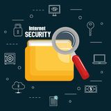 Folder document with internet security icons. Vector illustration design Royalty Free Stock Photos