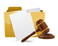 Folder document papers and gavel illustration Royalty Free Stock Photo