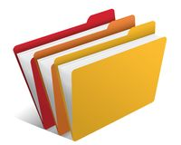 Folder with documents. Illustration of workplace and folder with documents Stock Image