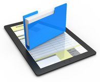 Folder with documents. On tablet computer Stock Image