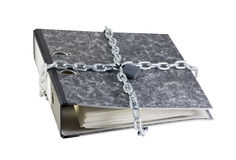 Folder with documents bandaged chain Royalty Free Stock Photo
