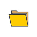 Folder with documents filled outline icon Stock Photography