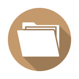 Folder with documents flat icon. Round colorful button, circular vector sign with long shadow effect. Flat style design Stock Image