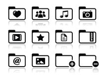 Folder documents music film icons set. Website computer folder for text, music, movie, images files Stock Photography