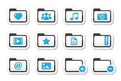 Folder documents music film icons set. Website computer folder for text, music, movie, images files labels set Royalty Free Stock Image