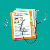 Folder documents, stethoscope, pills, pen. Patient card. medical report. analysis or prescription concept. vector illustration in flat style Stock Photos