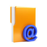 Folder with email sign. 3d render of computer folder with email sign Stock Image