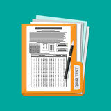 Folder with exam test answer sheet and pen. Folder with exam test answer sheet with pen. Flat style vector illustration Royalty Free Stock Photography