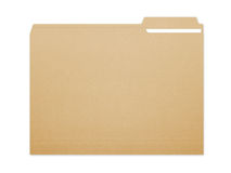 Folder File. Blank brown card folder file with paper showing with a lot of copy space. Isolated on a white background with clipping path Royalty Free Stock Image
