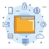 Folder file document digital internet secure email cloud data. Vector illustration Stock Photos