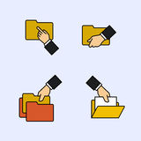 Folder file document line icons. Folder file document vector icons Stock Image