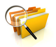 Folder or file search concept  3d illustration. Folder or file search 3d illustration  on white background Stock Photo