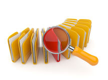 Folder and file search with magnifying glass. 3D Royalty Free Stock Image