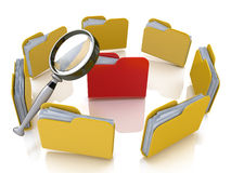 Folder and file search with magnifying glass. In the design of the information associated with the search for the right information Royalty Free Stock Photos