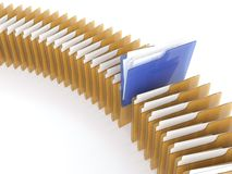 Folder with files. 3D illustration of blue folder with files among orange folders on white background Royalty Free Stock Photography