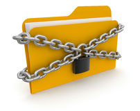 Folder with files and lock (clipping path included) Stock Images