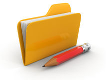 Folder with files and pencil (clipping path included) Stock Images