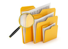Folder files search. Searching a files in folders  on white Royalty Free Stock Photos