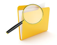 Folder files search. Searching a files in folder isolated on white Royalty Free Stock Photos