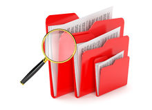 Folder files search. Searching a files in folder isolated on white Royalty Free Stock Photography
