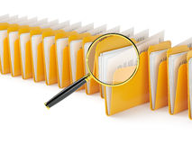 Folder files. Searching a folders in archive isolated on white Stock Photography