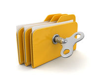 Folder and files with winding key. Image with clipping path Royalty Free Stock Photo
