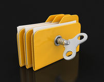 Folder and files with winding key. Image with clipping path Royalty Free Stock Image