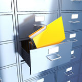 Folder in filing cabinet Stock Image
