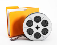 Folder and film reel Stock Images