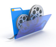 Folder with films. 3d illustration of a folder with a films spools, isolated on white Royalty Free Stock Image