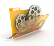 Folder with films. 3d illustration of a folder with a films spools,  on white Royalty Free Stock Photography