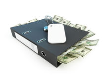 Folder full of dollars with the private key Stock Image