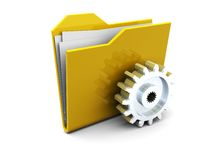 Folder with gear wheel Royalty Free Stock Photo