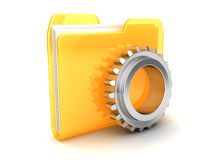 Folder with gear wheel. 3d illustration of folder icon with gear wheel Royalty Free Stock Photography