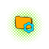 Folder with gear wheel icon, comics style. Folder with gear wheel icon in comics style on a white background Stock Image