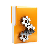 Folder with gears. 3d illustration of folder with gears. Isolated on white background Stock Image