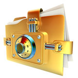 Folder with golden combination lock. Stores important documents Royalty Free Stock Images