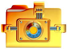 Folder with golden combination lock. Stores confidential information Royalty Free Stock Photography