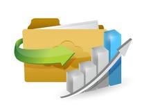 Folder and graph illustration Stock Photos