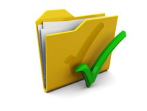 Folder and green tick Stock Photography