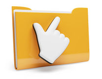 Folder and hand cursor Royalty Free Stock Photography