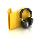 Folder and headphones Royalty Free Stock Photos