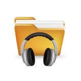 Folder and headphones  on white Royalty Free Stock Image